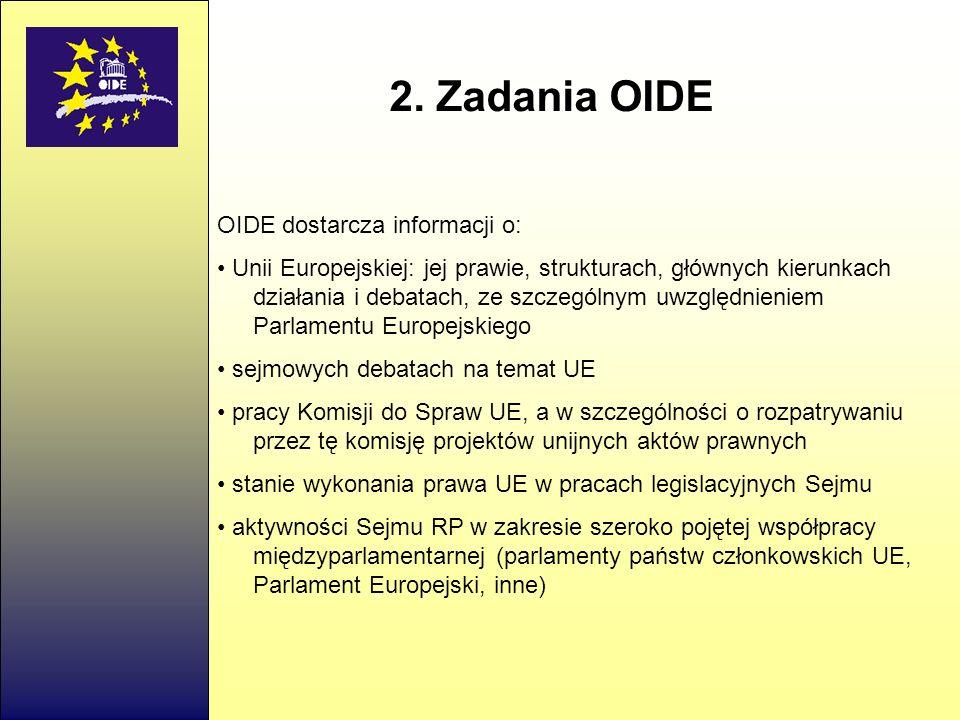 2. Zadania OIDE OIDE dostarcza informacji o: