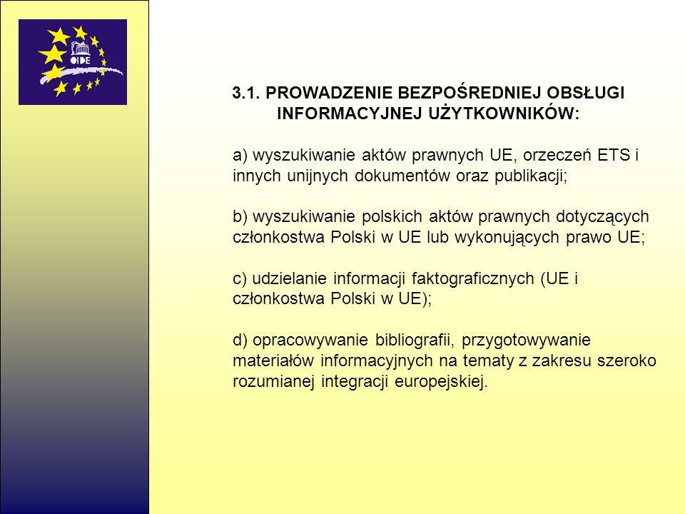 3.1. PROWADZENIE BEZPOŚREDNIEJ OBSŁUGI INFORMACYJNEJ UŻYTKOWNIKÓW: