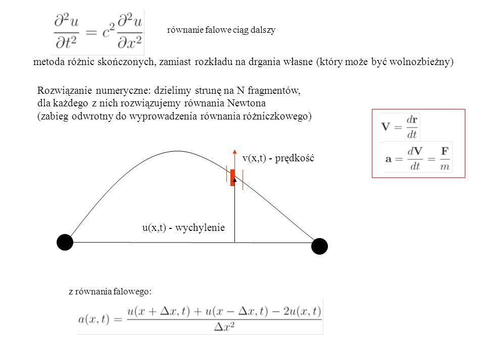 schematy Verleta równanie falowe ciąg dalszy. metoda różnic skończonych, zamiast rozkładu na drgania własne (który może być wolnozbieżny)