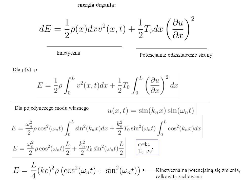 energia drgania: kinetyczna. Potencjalna: odkształcenie struny. Dla r(x)=r. Dla pojedynczego modu własnego.