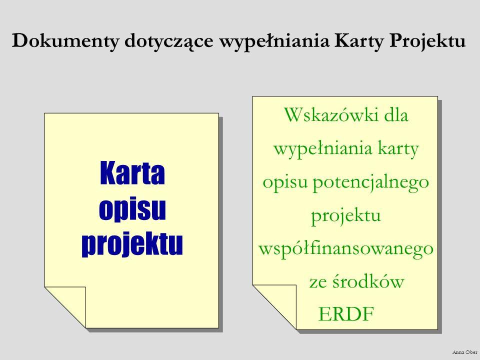 Dokumenty dotyczące wypełniania Karty Projektu