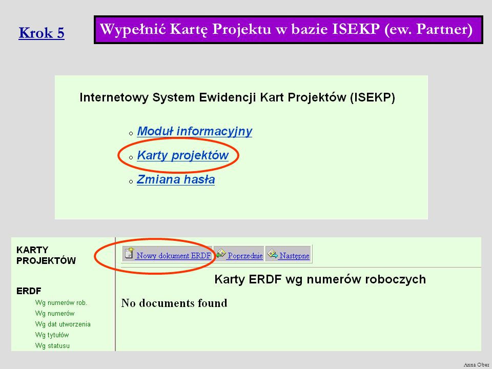 Wypełnić Kartę Projektu w bazie ISEKP (ew. Partner) Krok 5
