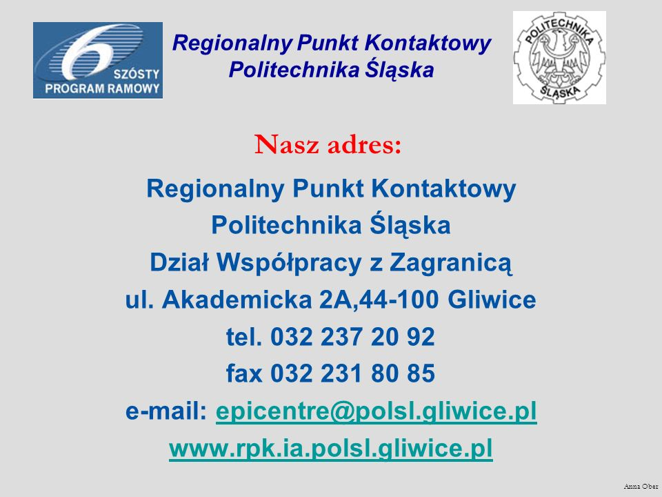 Regionalny Punkt Kontaktowy Politechnika Śląska
