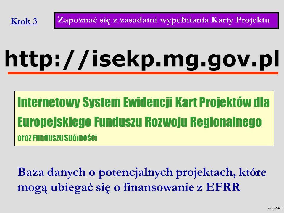 Krok 3 Zapoznać się z zasadami wypełniania Karty Projektu. Anna Ober. http://isekp.mg.gov.pl.