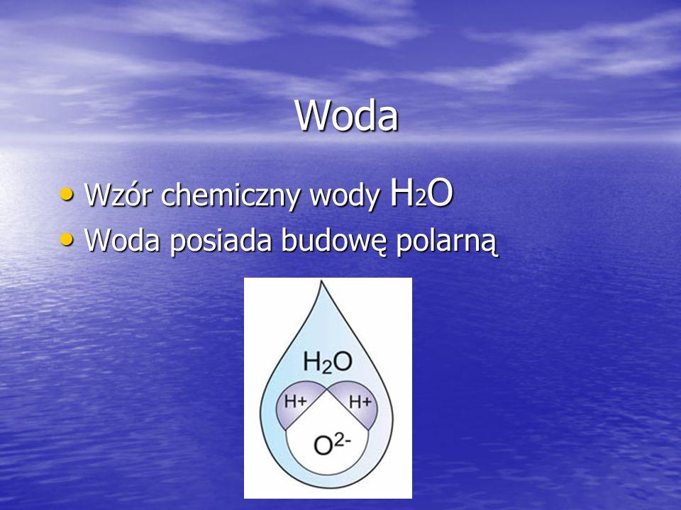 Woda Wzór chemiczny wody H2O Woda posiada budowę polarną
