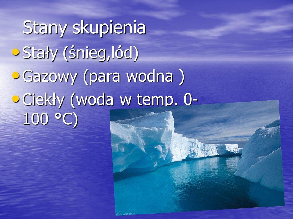 Stany skupienia Stały (śnieg,lód) Gazowy (para wodna )