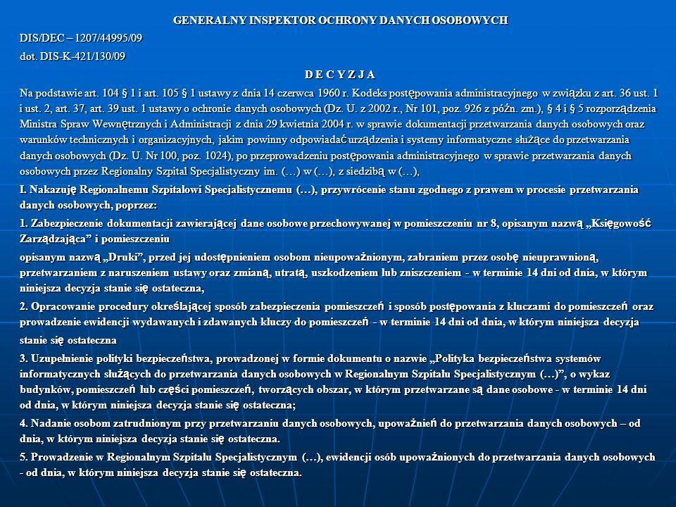 GENERALNY INSPEKTOR OCHRONY DANYCH OSOBOWYCH DIS/DEC – 1207/44995/09 dot.
