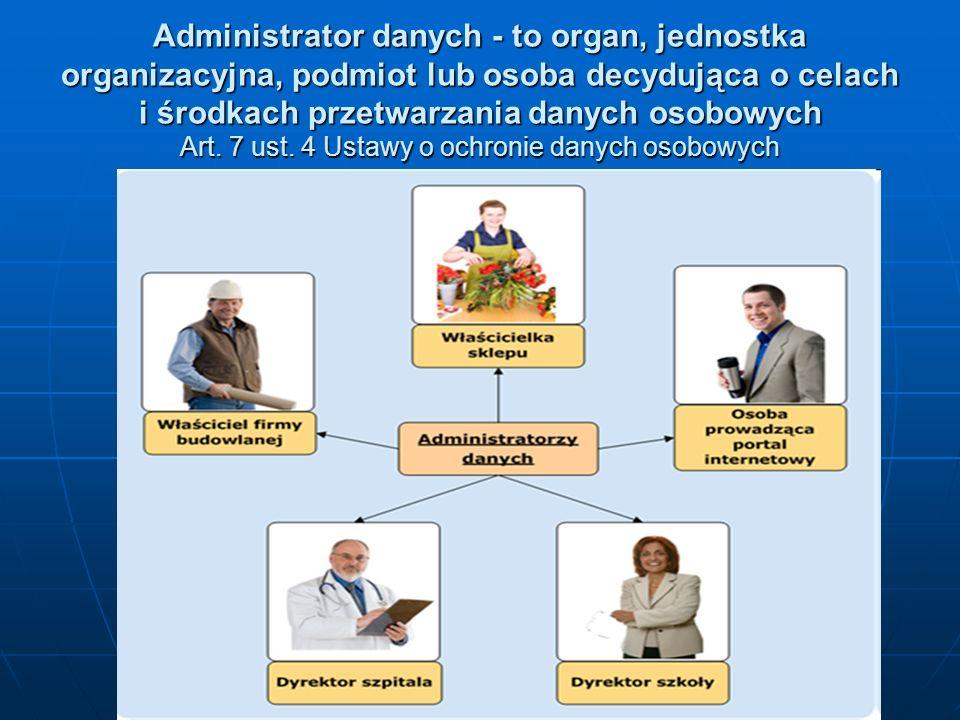 Administrator danych - to organ, jednostka organizacyjna, podmiot lub osoba decydująca o celach i środkach przetwarzania danych osobowych Art.