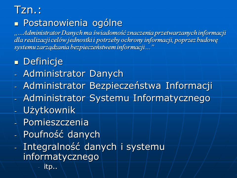 Tzn.: Postanowienia ogólne Definicje Administrator Danych