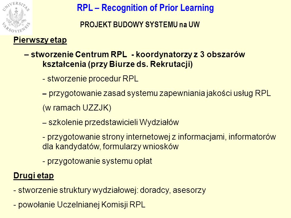 RPL – Recognition of Prior Learning PROJEKT BUDOWY SYSTEMU na UW