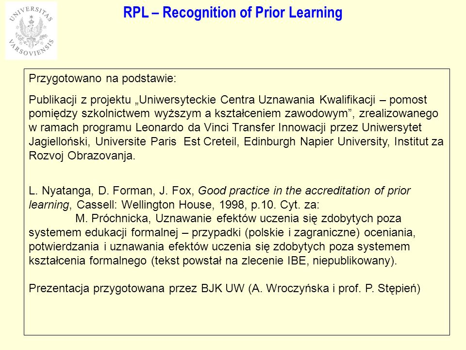 RPL – Recognition of Prior Learning