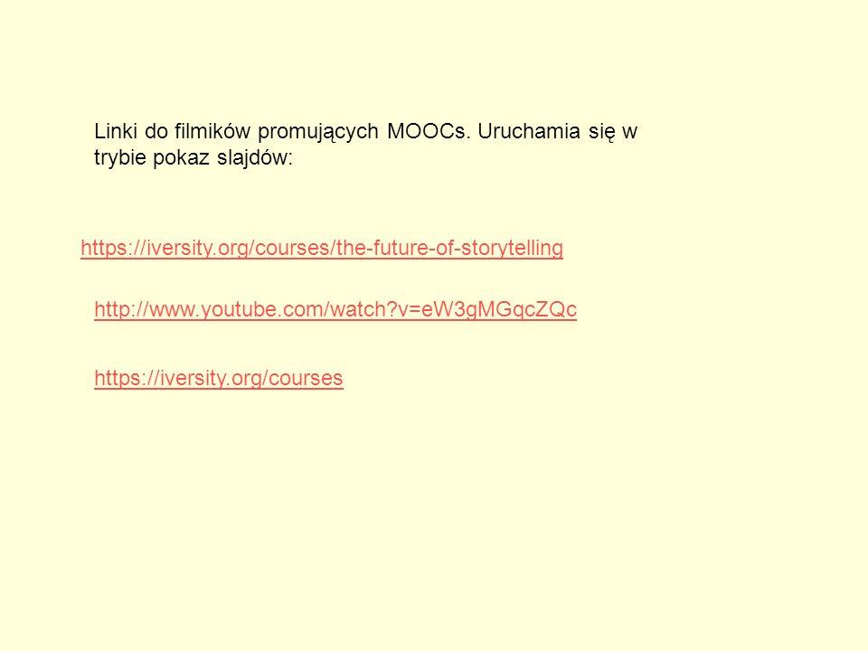 Linki do filmików promujących MOOCs