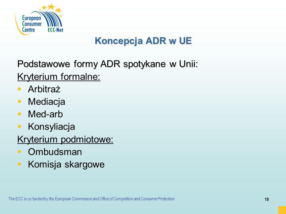 Podstawowe formy ADR spotykane w Unii: Kryterium formalne: Arbitraż