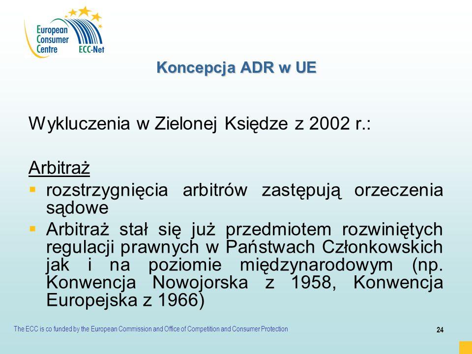 Wykluczenia w Zielonej Księdze z 2002 r.: Arbitraż