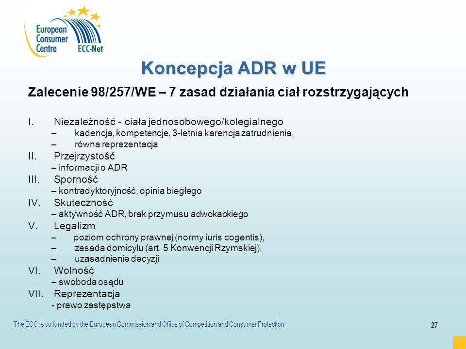 Koncepcja ADR w UE Zalecenie 98/257/WE – 7 zasad działania ciał rozstrzygających. Niezależność - ciała jednosobowego/kolegialnego.