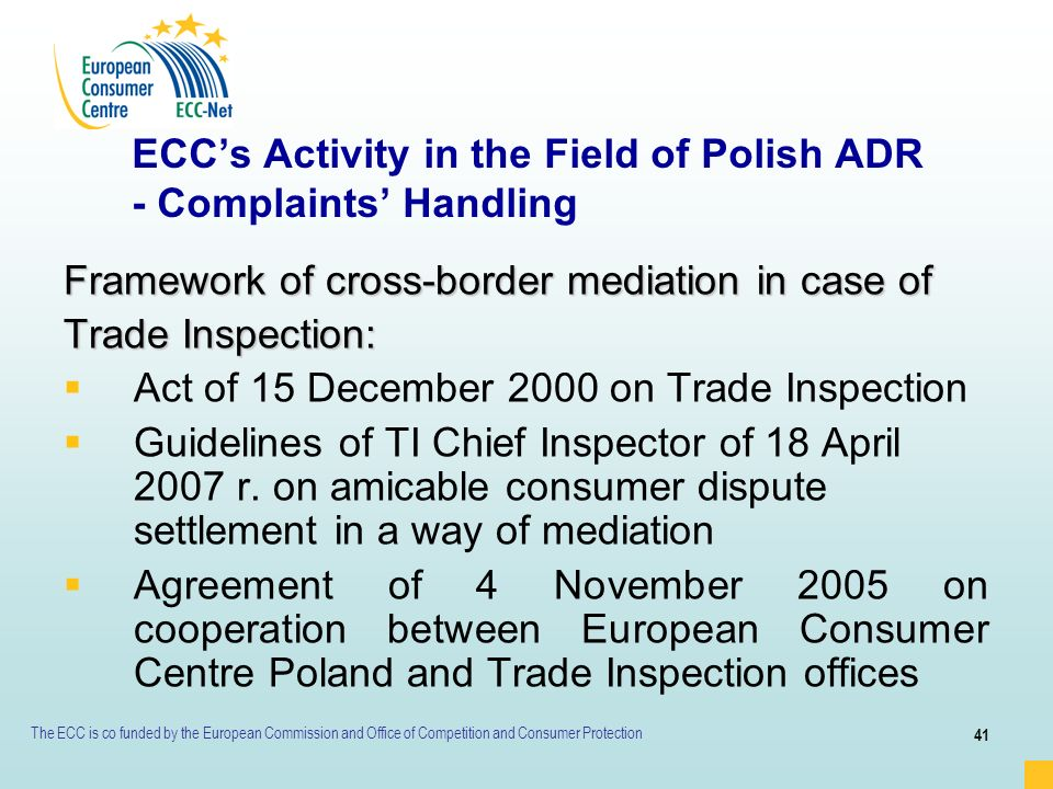 ECC's Activity in the Field of Polish ADR - Complaints' Handling