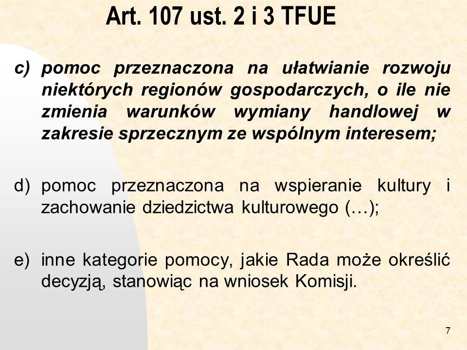 Art. 107 ust. 2 i 3 TFUE