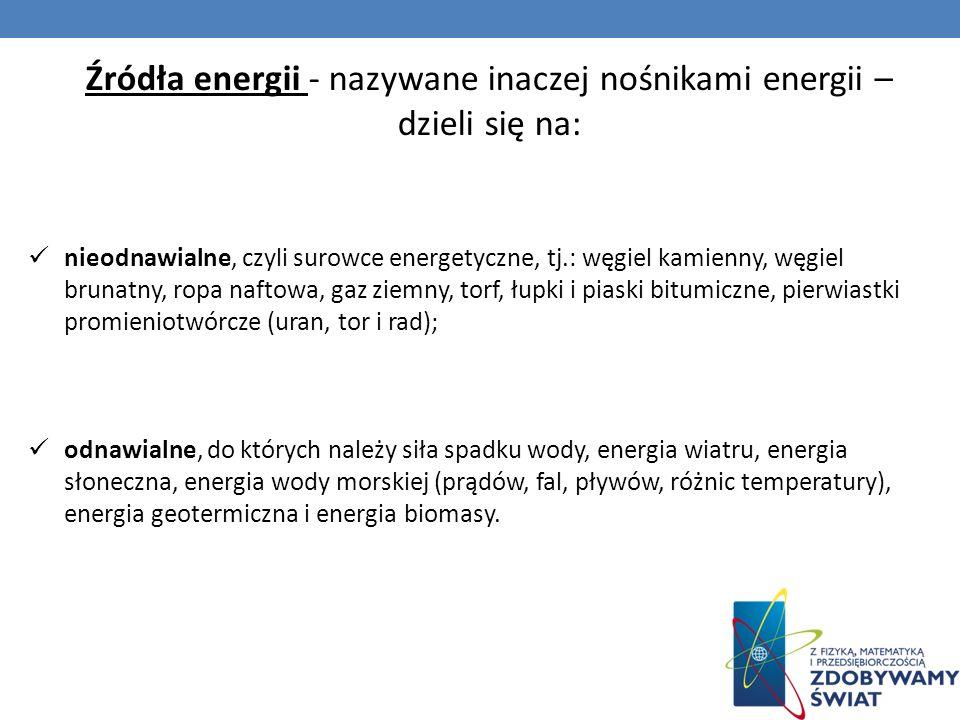 Źródła energii - nazywane inaczej nośnikami energii –