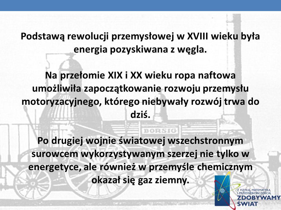 Podstawą rewolucji przemysłowej w XVIII wieku była energia pozyskiwana z węgla.