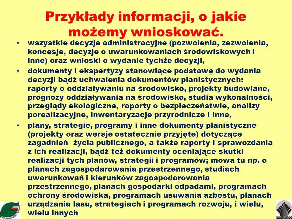 Przykłady informacji, o jakie możemy wnioskować.