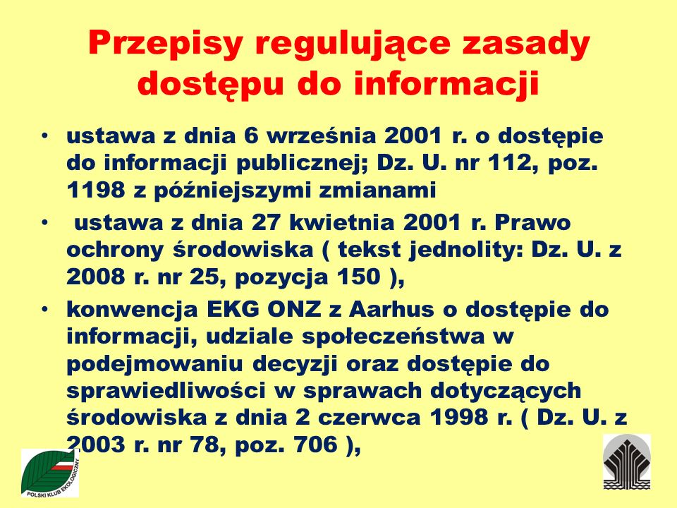 Przepisy regulujące zasady dostępu do informacji