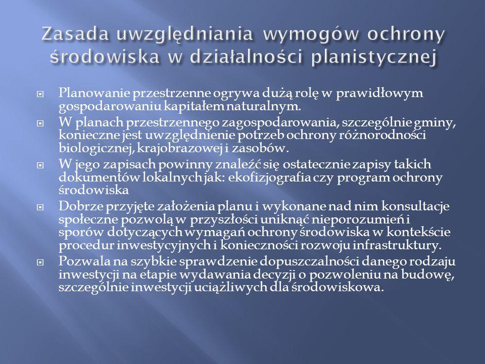 Zasada uwzględniania wymogów ochrony środowiska w działalności planistycznej
