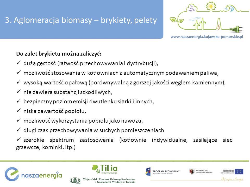 3. Aglomeracja biomasy – brykiety, pelety