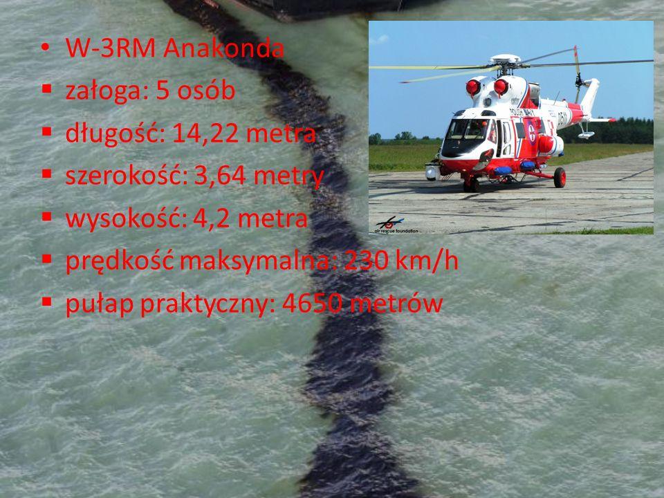 W-3RM Anakondazałoga: 5 osób. długość: 14,22 metra. szerokość: 3,64 metry. wysokość: 4,2 metra. prędkość maksymalna: 230 km/h.