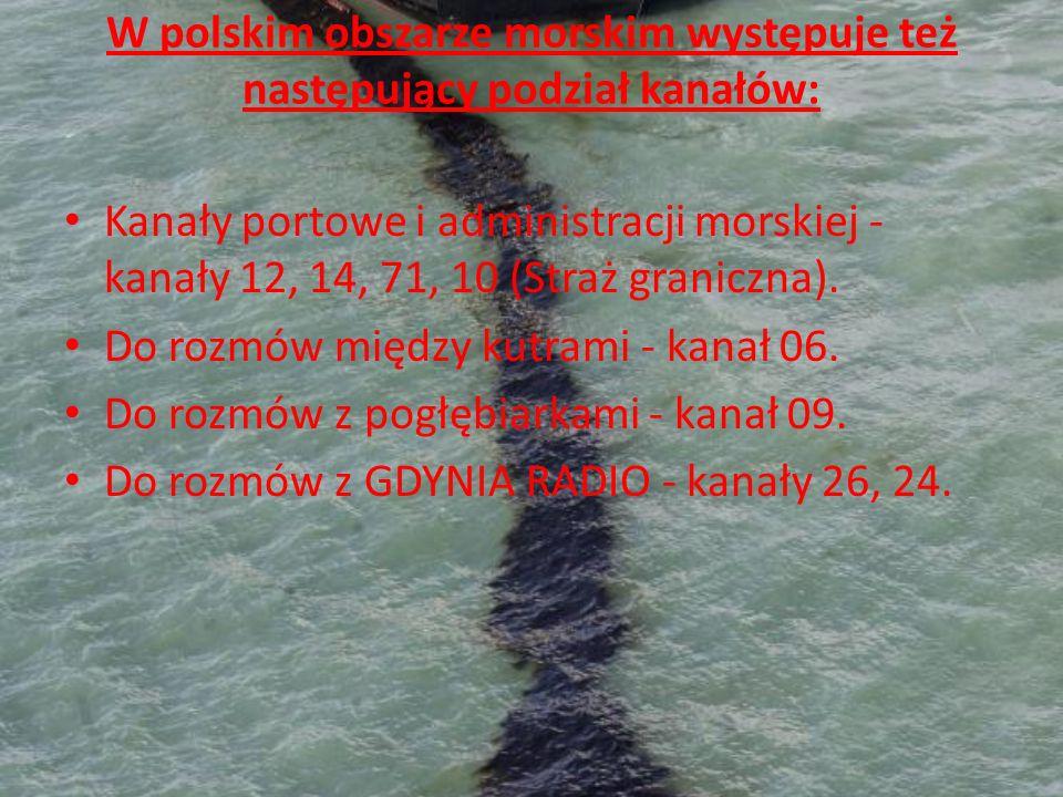 W polskim obszarze morskim występuje też następujący podział kanałów: