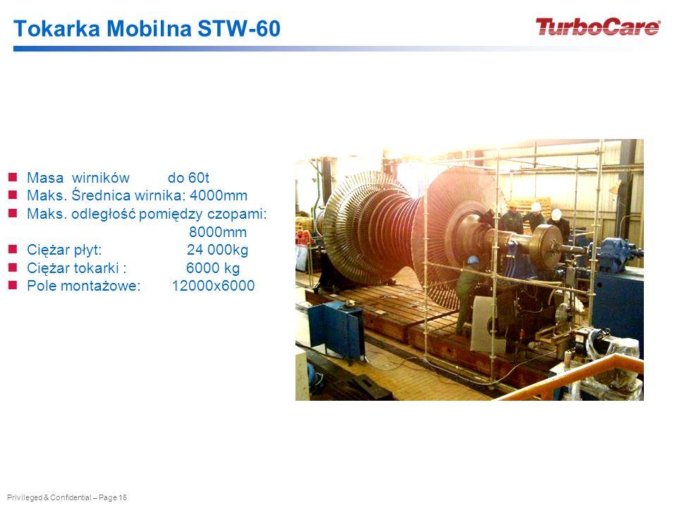 Tokarka Mobilna STW-60 Masa wirników do 60t