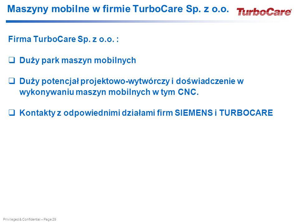Maszyny mobilne w firmie TurboCare Sp. z o.o.