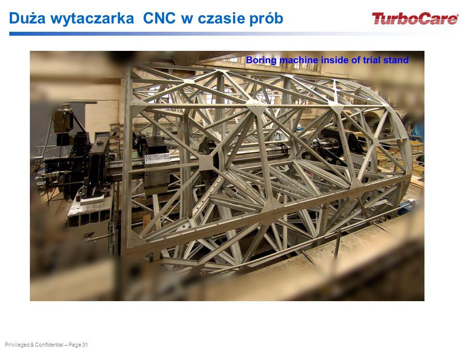 Duża wytaczarka CNC w czasie prób
