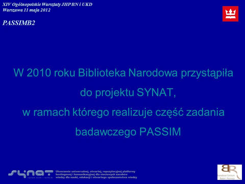 W 2010 roku Biblioteka Narodowa przystąpiła do projektu SYNAT,