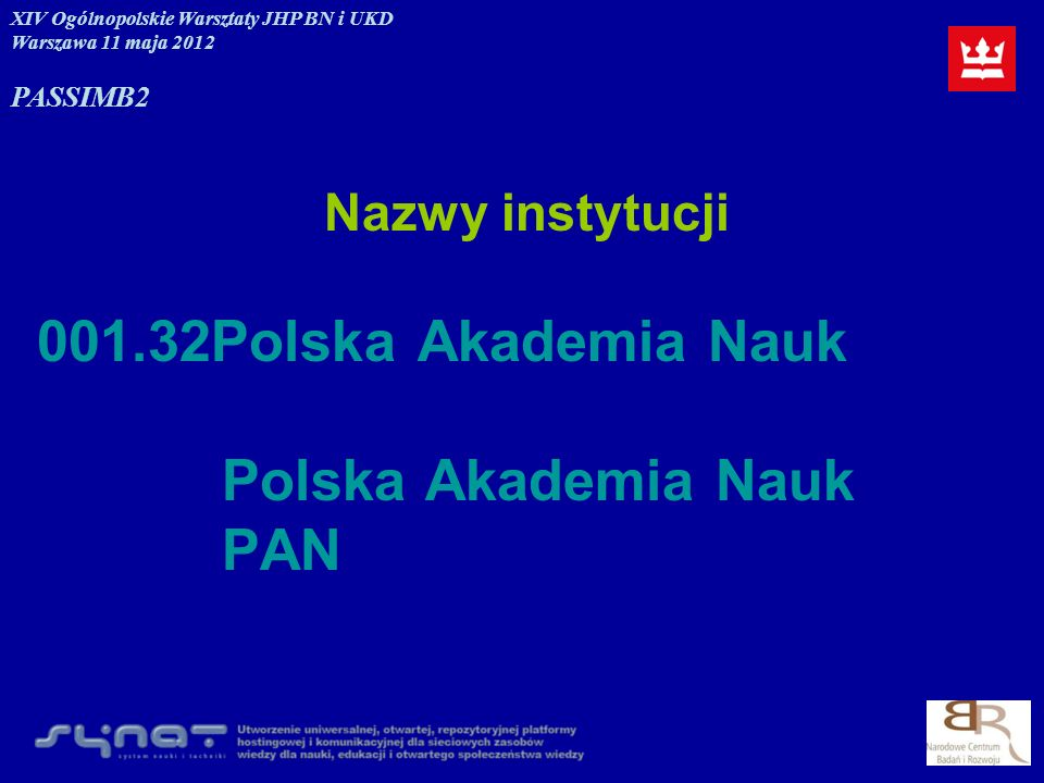001.32Polska Akademia Nauk Polska Akademia Nauk PAN Nazwy instytucji