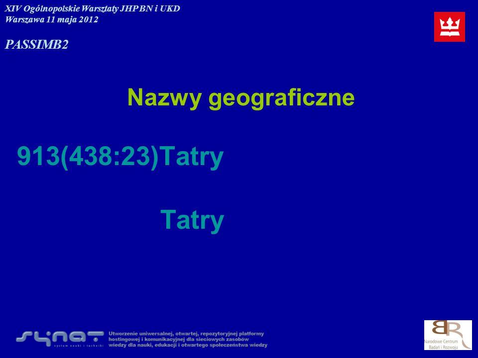 913(438:23)Tatry Tatry Nazwy geograficzne PASSIM B2