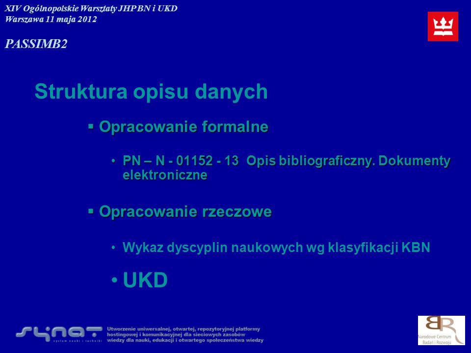 UKD Struktura opisu danych Opracowanie formalne Opracowanie rzeczowe