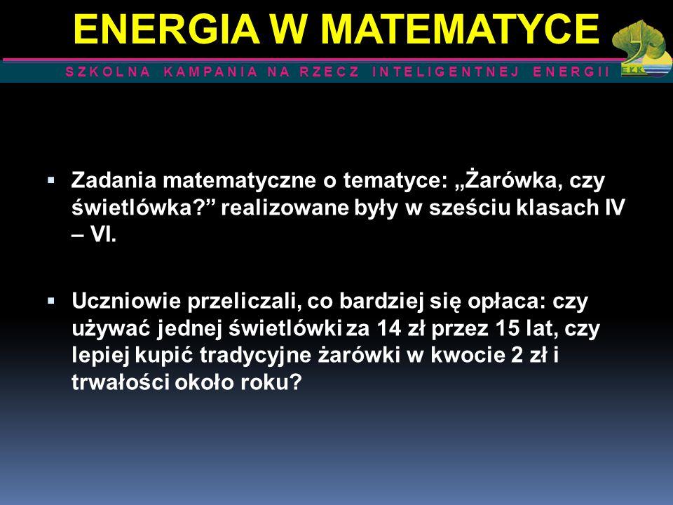 ENERGIA W MATEMATYCE S Z K O L N A K A M P A N I A N A R Z E C Z I N T E L I G E N T N E J E N E R G I I.