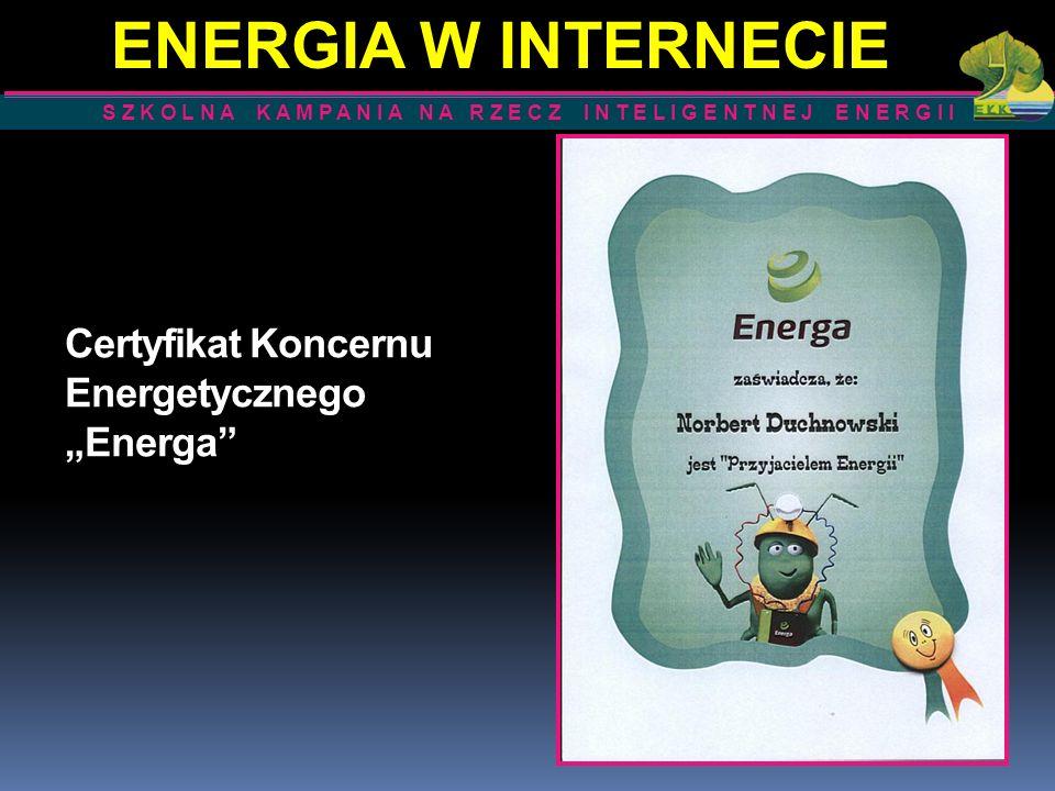 """Certyfikat Koncernu Energetycznego """"Energa"""