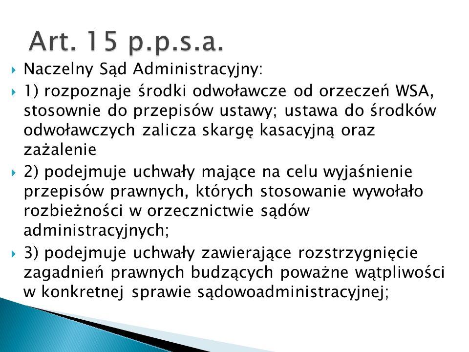 Art. 15 p.p.s.a. Naczelny Sąd Administracyjny: