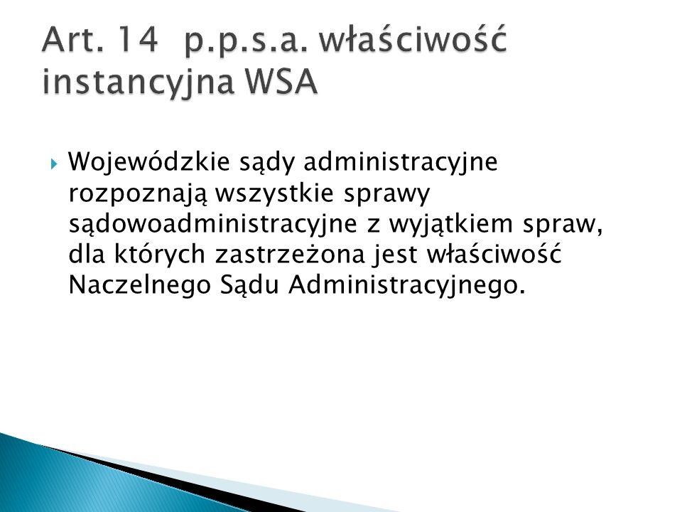 Art. 14 p.p.s.a. właściwość instancyjna WSA
