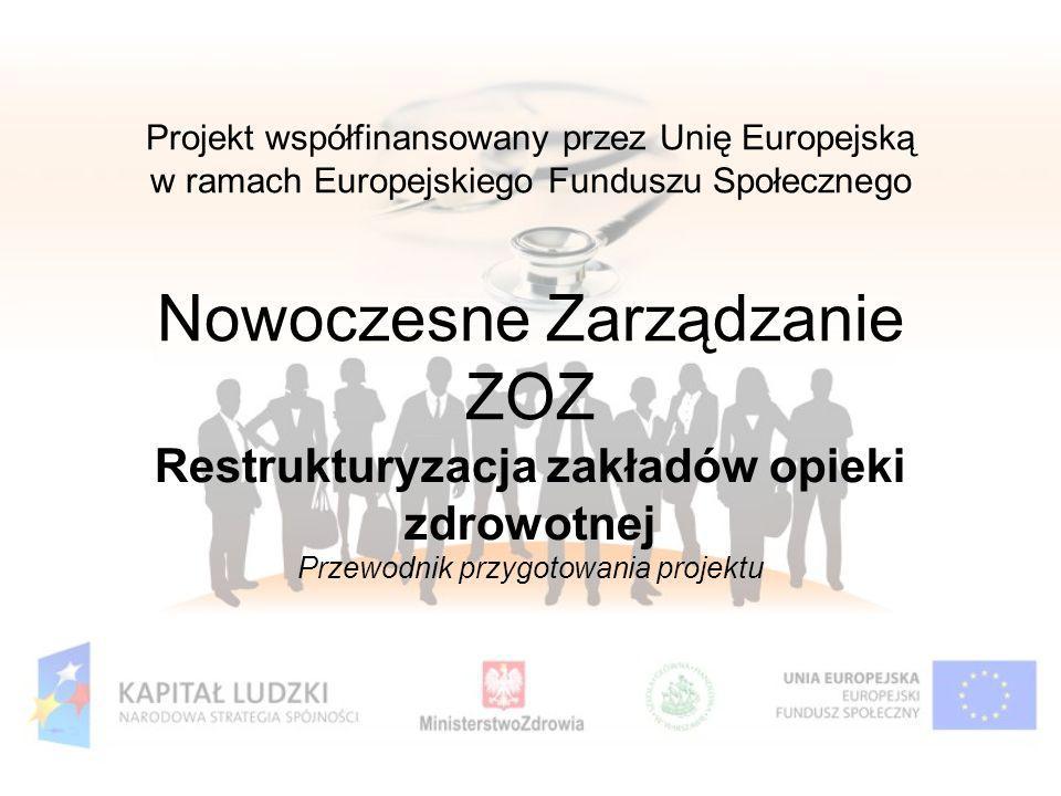 Projekt współfinansowany przez Unię Europejską w ramach Europejskiego Funduszu Społecznego Nowoczesne Zarządzanie ZOZ