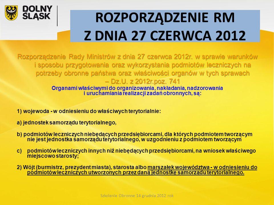 ROZPORZĄDZENIE RM Z DNIA 27 CZERWCA 2012