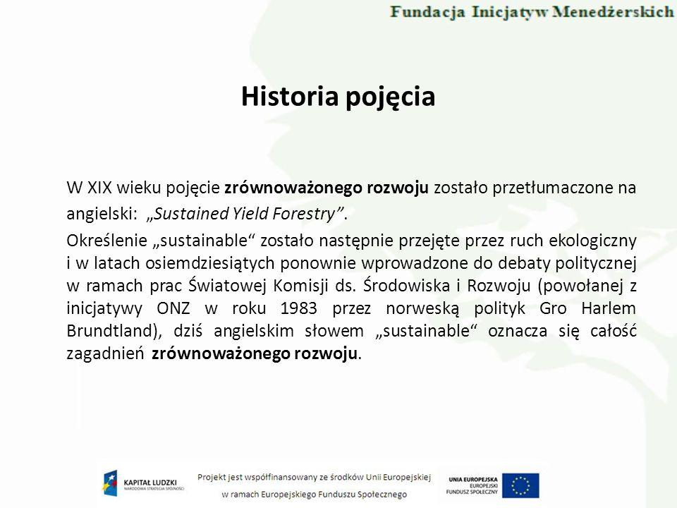 """Historia pojęcia W XIX wieku pojęcie zrównoważonego rozwoju zostało przetłumaczone na angielski: """"Sustained Yield Forestry ."""