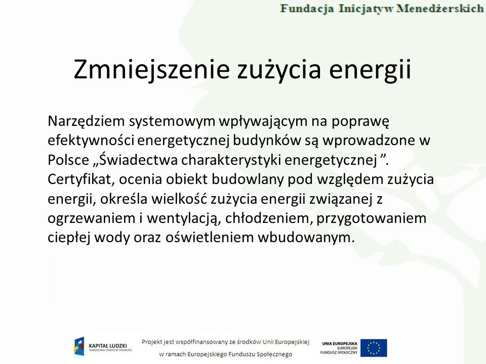 Zmniejszenie zużycia energii