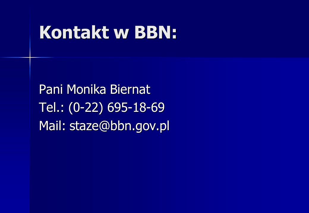 Kontakt w BBN: Pani Monika Biernat Tel.: (0-22) 695-18-69