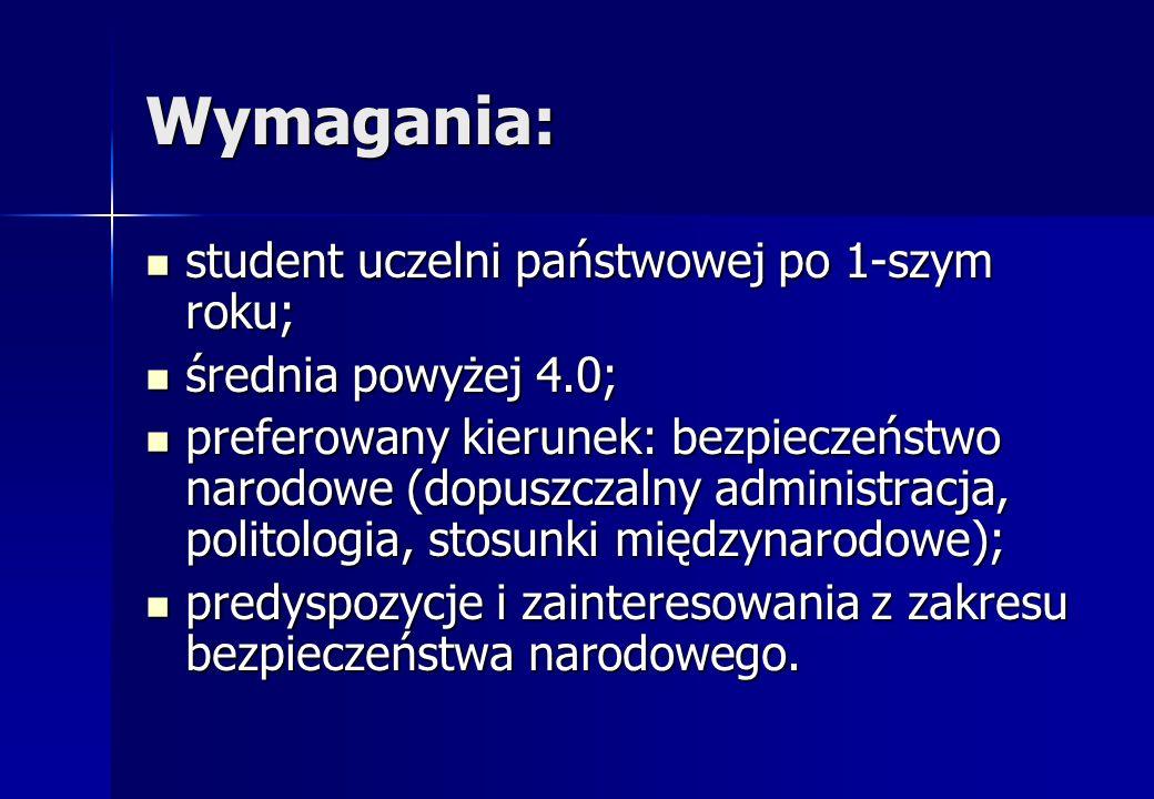Wymagania: student uczelni państwowej po 1-szym roku;