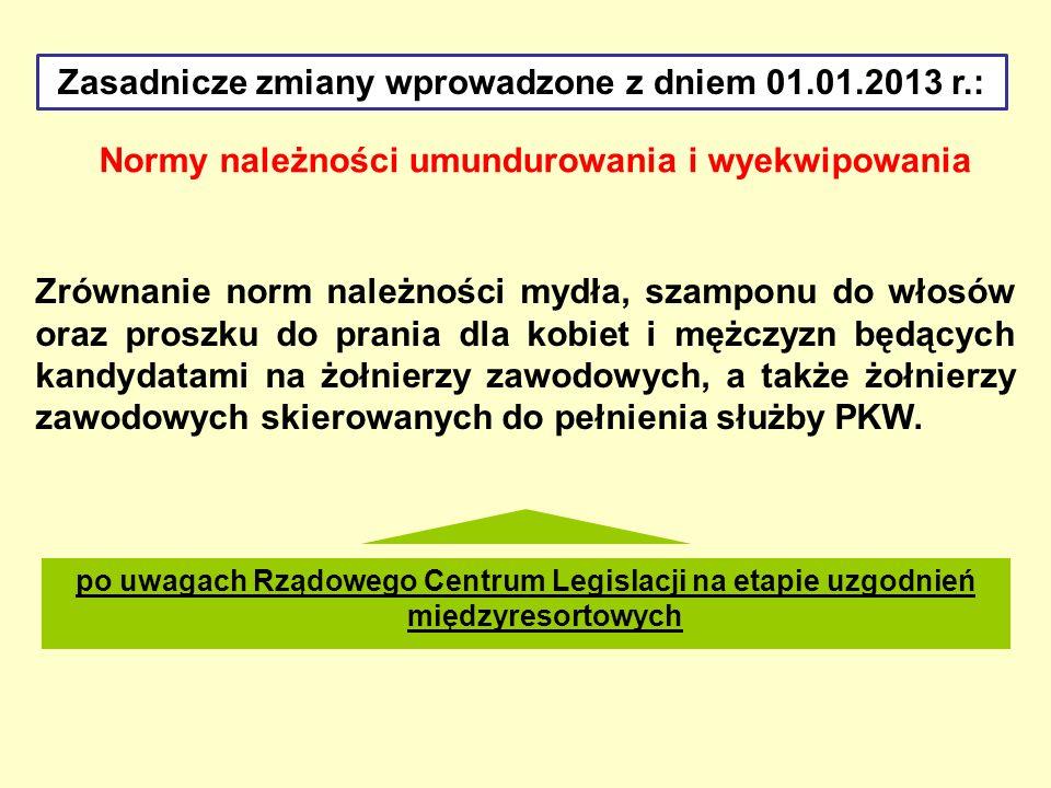 Zasadnicze zmiany wprowadzone z dniem 01.01.2013 r.: