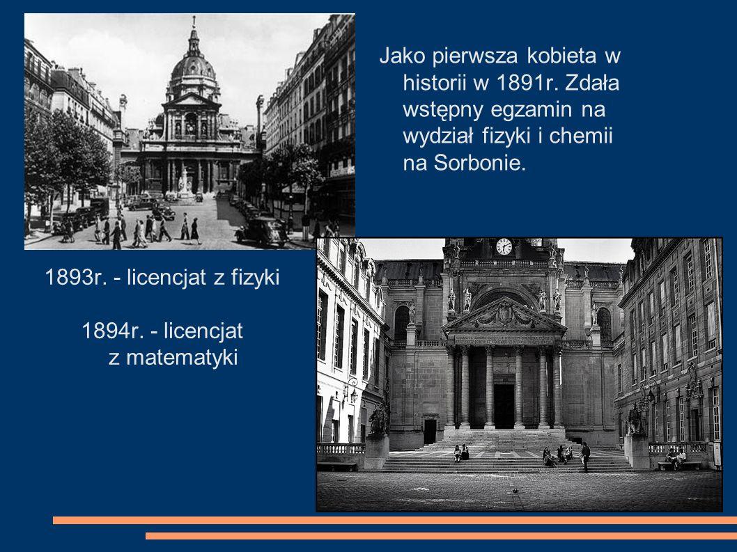 1894r. - licencjat z matematyki