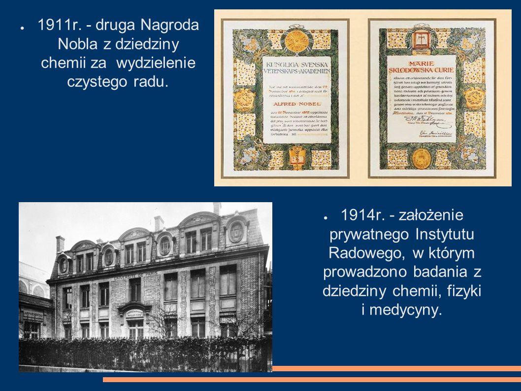 1911r. - druga Nagroda Nobla z dziedziny chemii za wydzielenie czystego radu.
