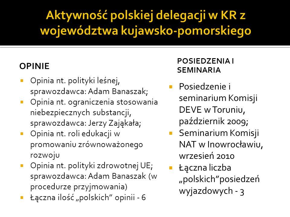 Aktywność polskiej delegacji w KR z województwa kujawsko-pomorskiego